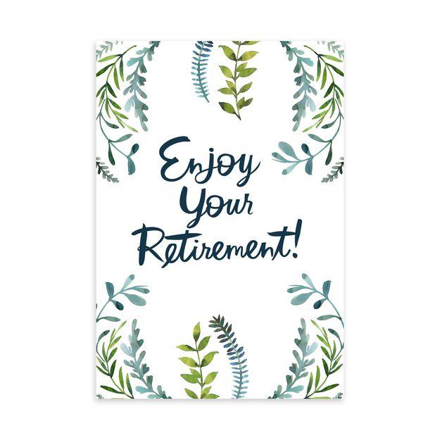 Watercolor Greenery Retirement Card