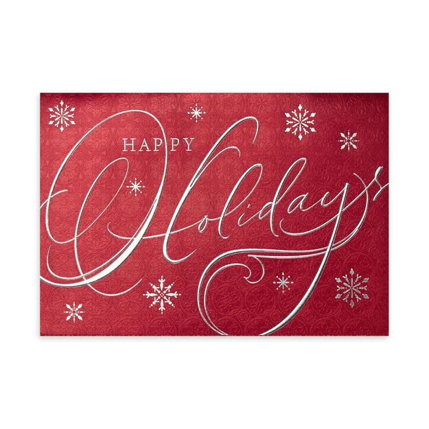 Red & Silver Happy Holidays Premium Holiday Card