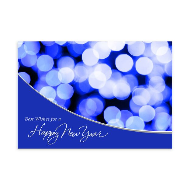 Blue & Silver Lights New Year Card