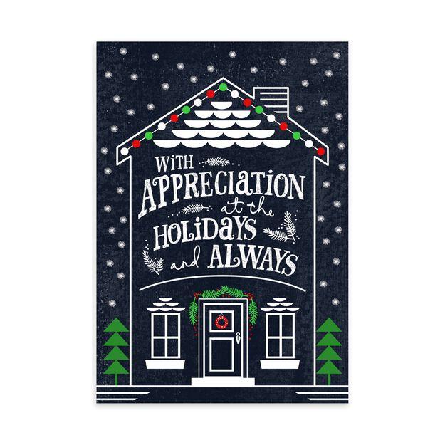 Festive Home Illustration Holiday Appreciation Card