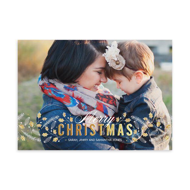 Holly & Pine Christmas Full Photo Card