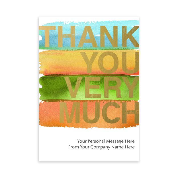 Watercolor & Shine Customizable Cover Thank You Card