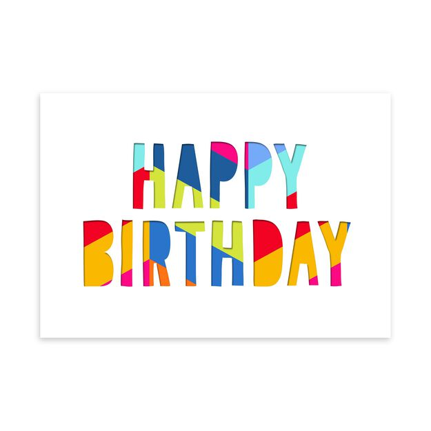 Colorful Paper Letters Birthday Card