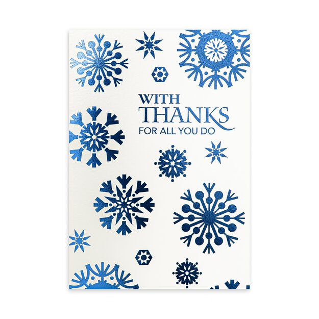 Blue Snowflakes Holiday Appreciation Card