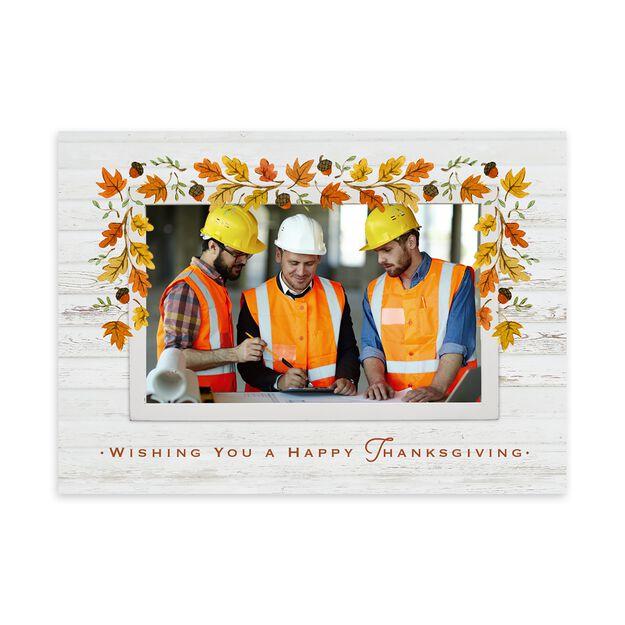 Oak Leaf Garland Thanksgiving Photo Card