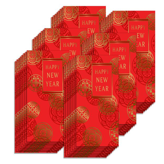 Happy New Year Lai See Red Envelopes 48 Pack