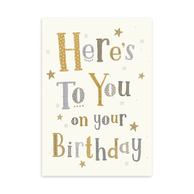 Here's to You Lettering Birthday Card