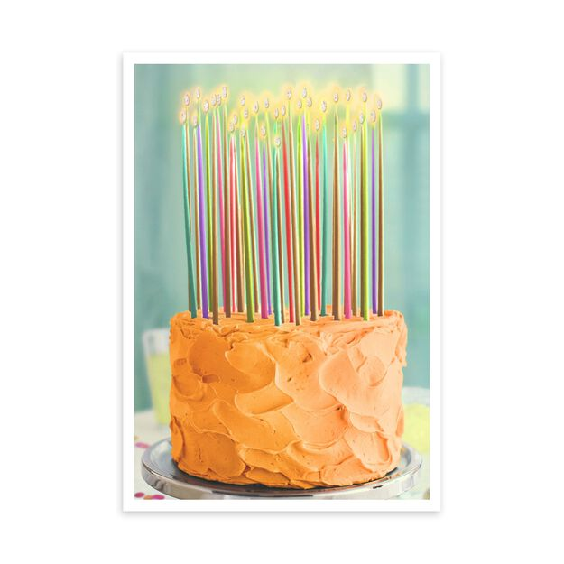Colorful Cake & Candles Birthday Card
