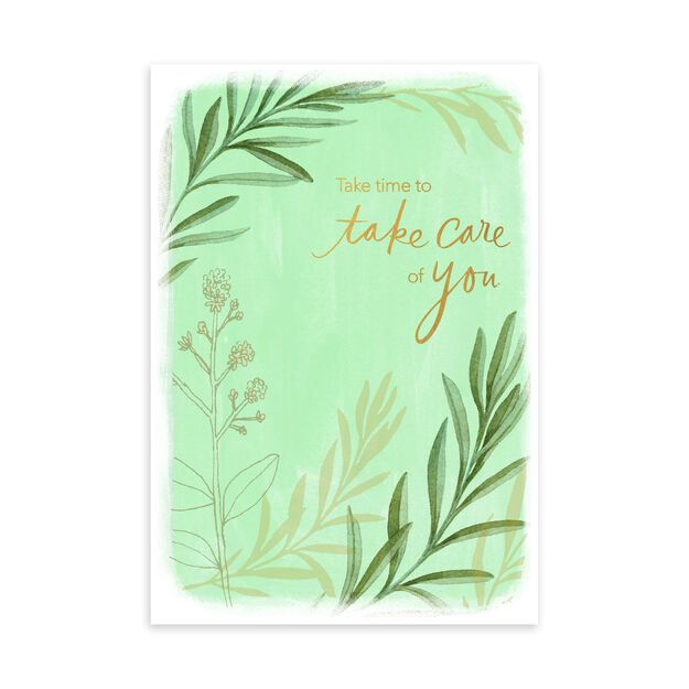 Green Plants & Gold Take Care Card