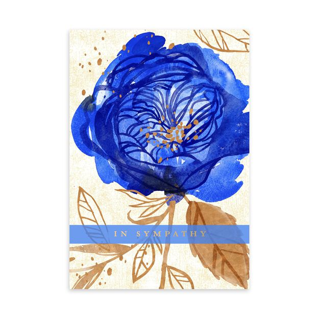 Gold & Blue Rose Sympathy Card