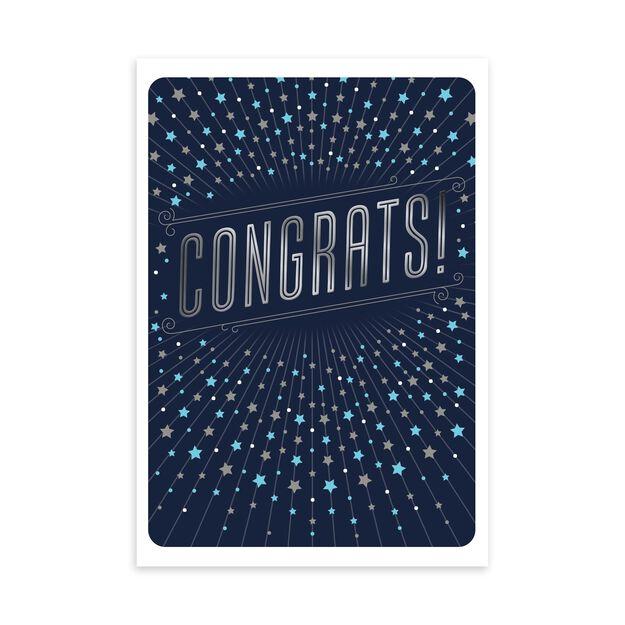 Silver Stars on Navy Congratulations Card