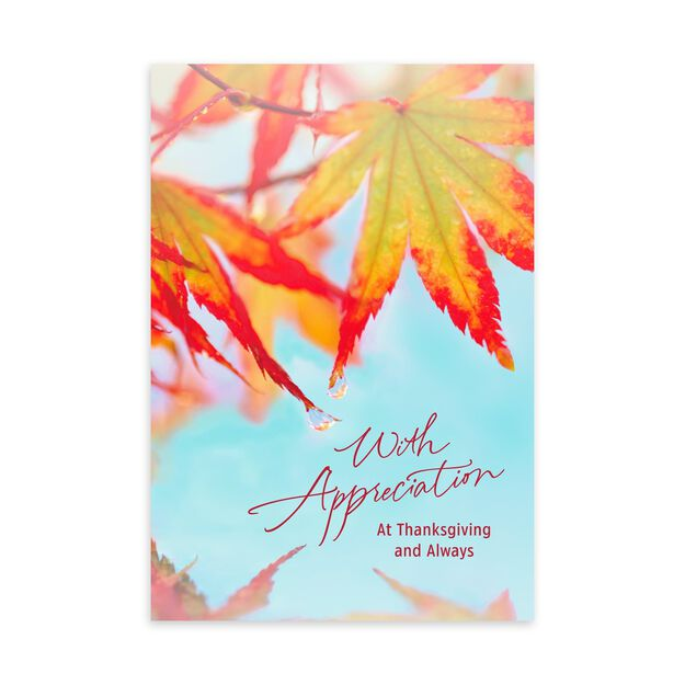 Red Fall Leaves Thanksgiving Card