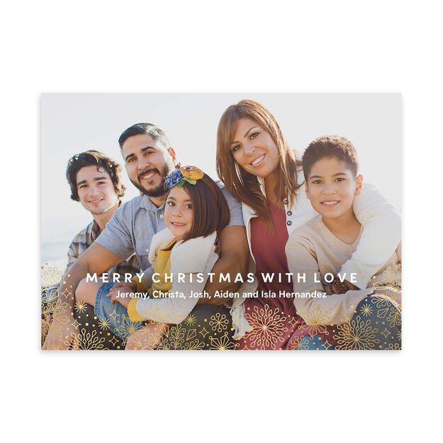 Shimmering Snowflakes Border Holiday Full Photo Card