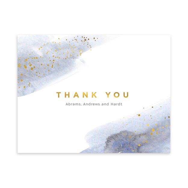 Watercolor & Shine Customizable Thank You Notecard