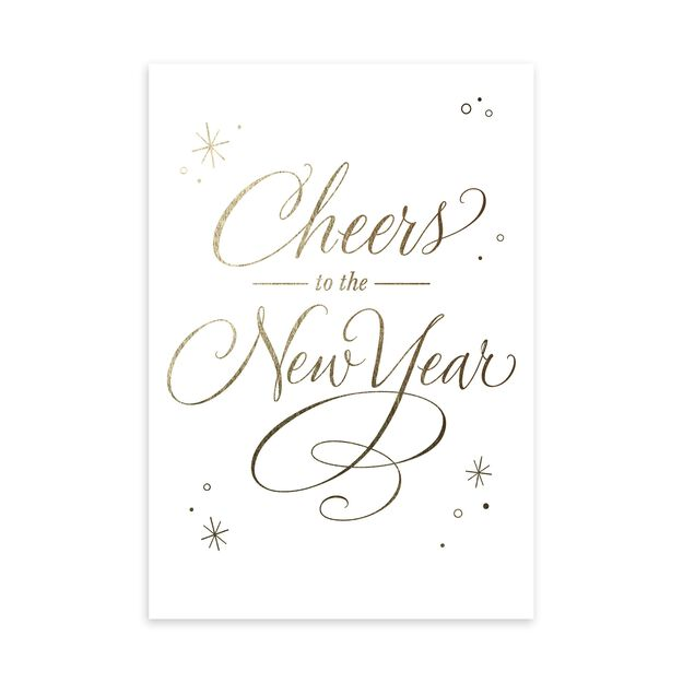 Gold & White Cheers New Year Card