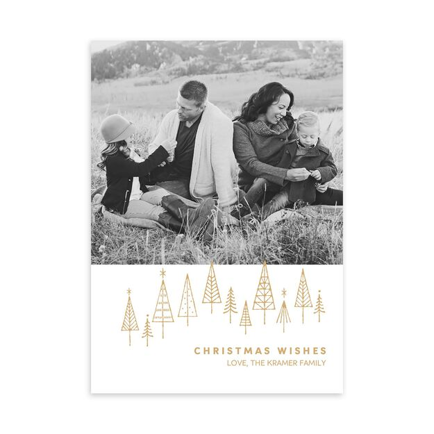 Simple Pine Forest Christmas Photo Card