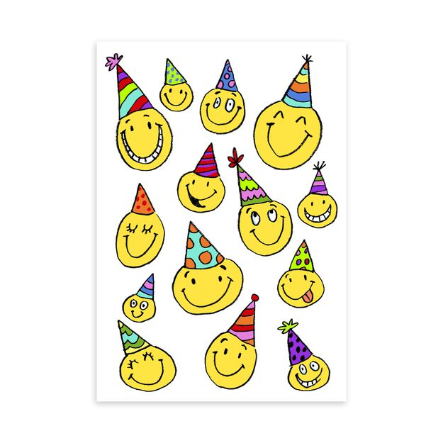 Smiley Faces in Party Hats Funny Birthday Card