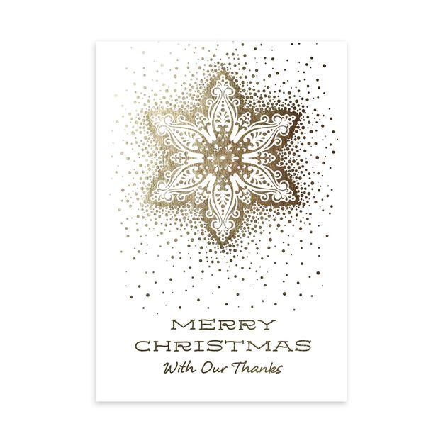Gold Snowflake Christmas Thank You Card