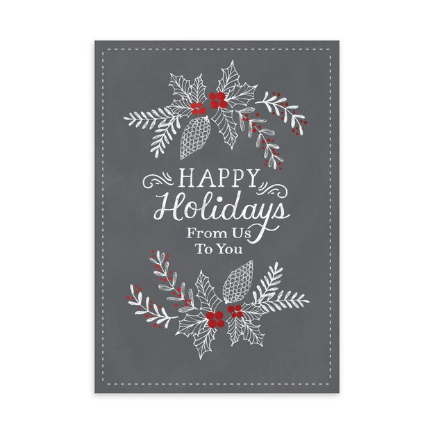 Chalk on Gray From Us Happy Holidays Card