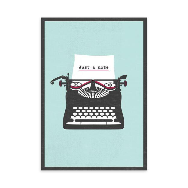 Typewriter on Blue Just Because Card