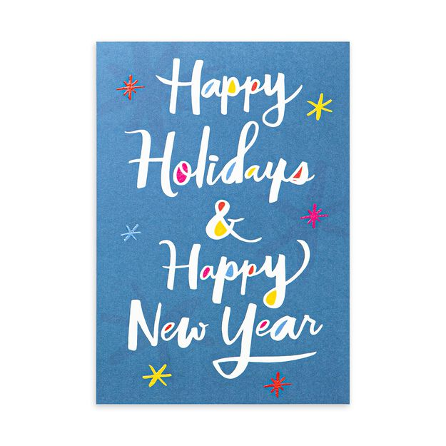 Color Pop on Blue Holidays & New Year Card