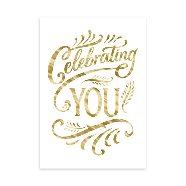 Gold Celebrating You Birthday Card