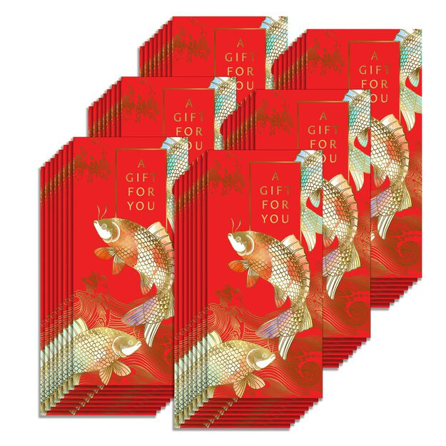Golden Koi Fish Lai See Gift for You Red Envelopes 48 Pack