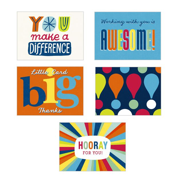 Vibrant Recognition Assorted Blank Employee Appreciation Notecards 50 Pack