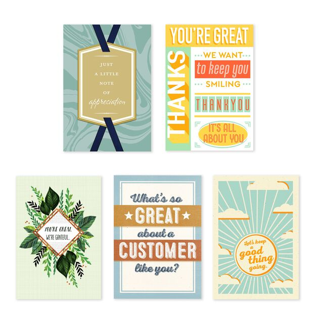 Thanks & Retention Assorted Customer Appreciation Cards 25 Pack