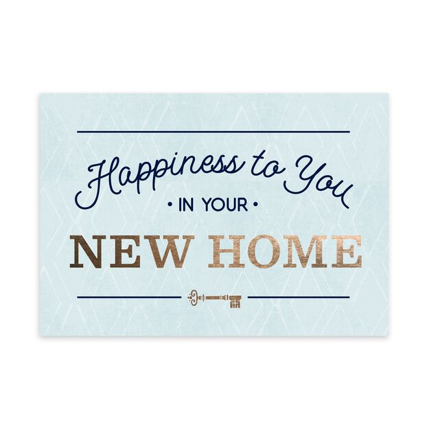 Happiness on Blue & Gold New Home Card
