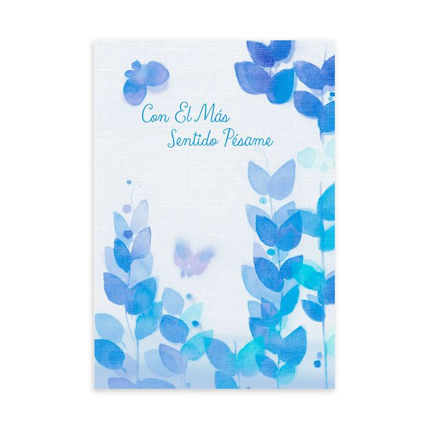 Peaceful Blue Butterfly Spanish Sympathy Card