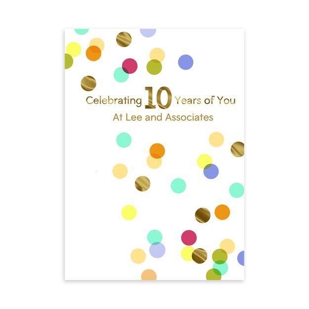 10 Year Celebration Customizable Anniversary Card