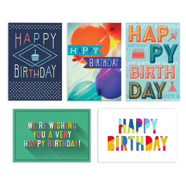 Colorful Collection Assorted Birthday Cards 25 Pack