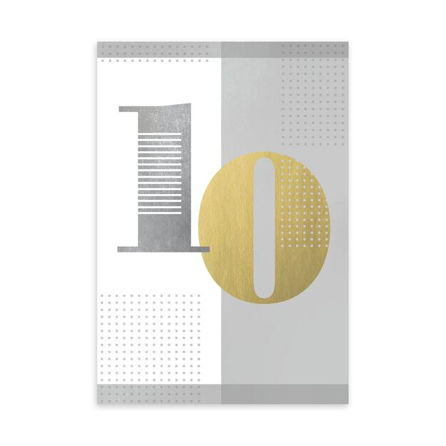 Gold & Silver 10-Year Work Anniversary Card