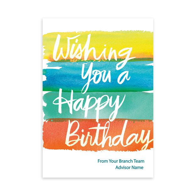 Bold Watercolor Customizable Cover Birthday Card