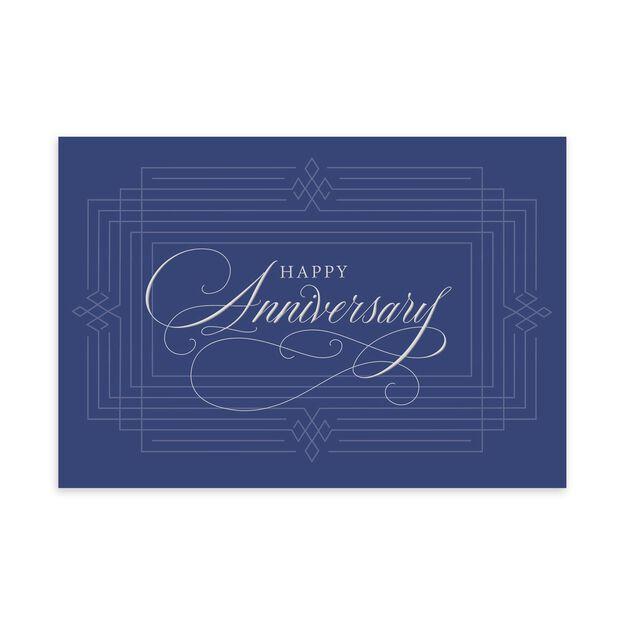 Formal Silver & Blue Work Anniversary Card