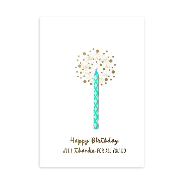 Blue Candle & Appreciation Birthday Card