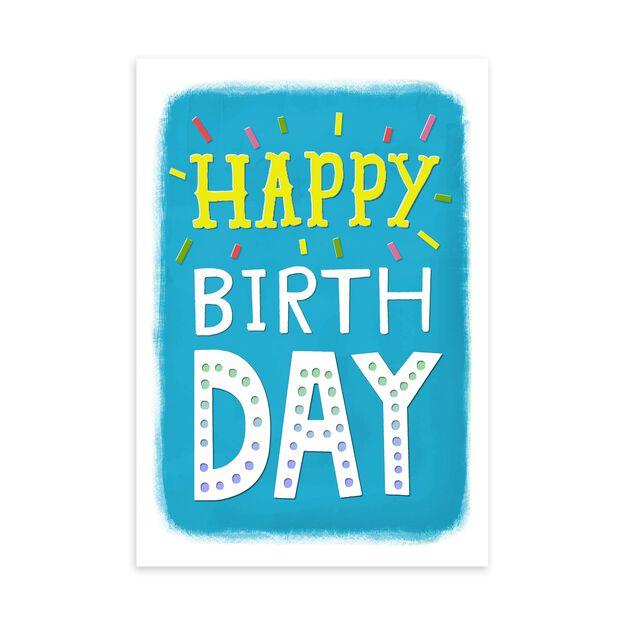 Happy on Blue Birthday Card