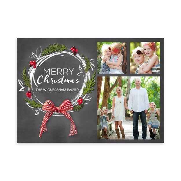 Pine & Chalk Wreath Christmas Multi Photo Card