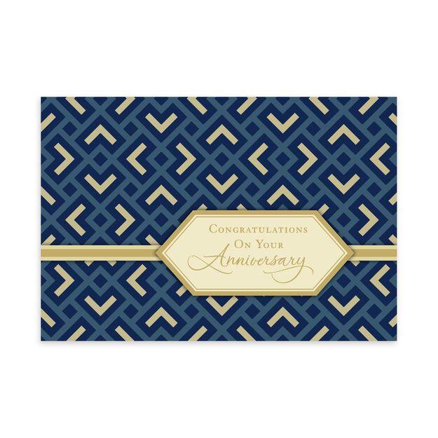 Formal Blue & Gold Work Anniversary Card