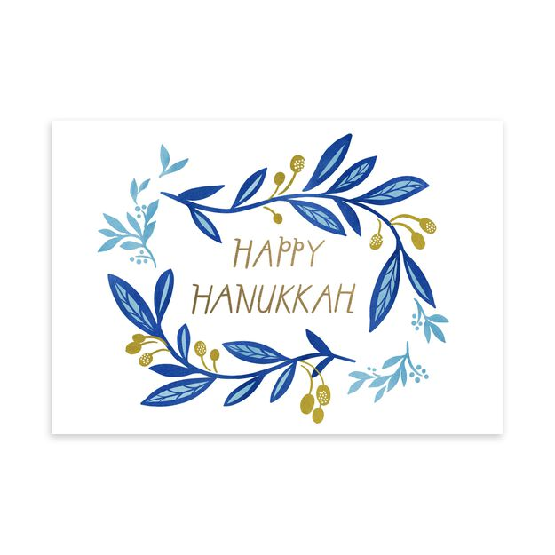 Blue & Gold Vines Hanukkah Card