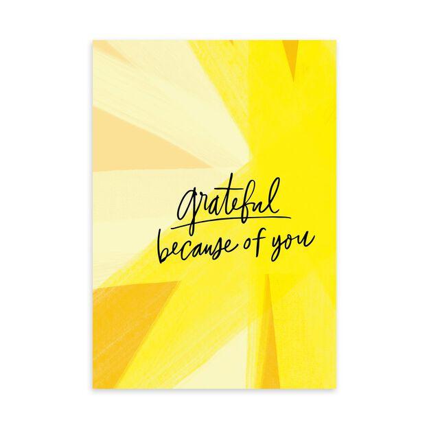 Grateful, Bold Yellow Thank You Card