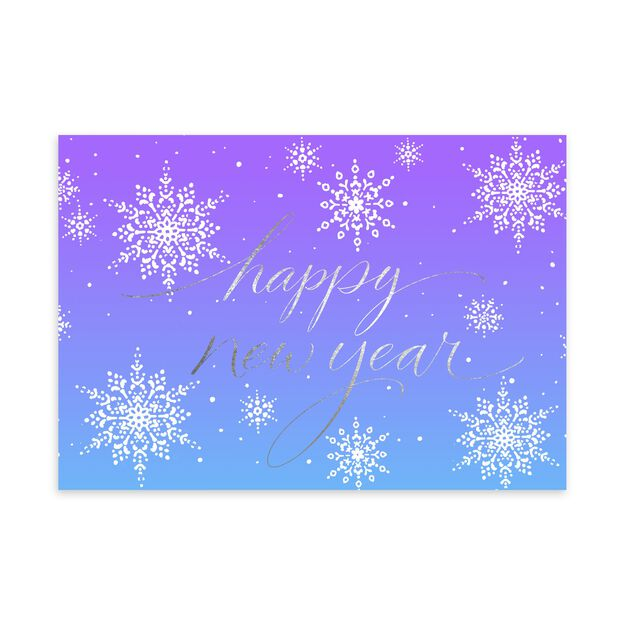 Shimmering Snowflakes Premium New Year Card