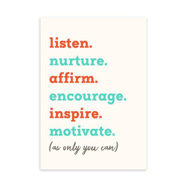 Listen, Nurture, Inspire Appreciation Card