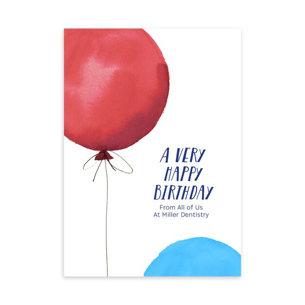 Red & Blue Balloons Customizable Birthday Card