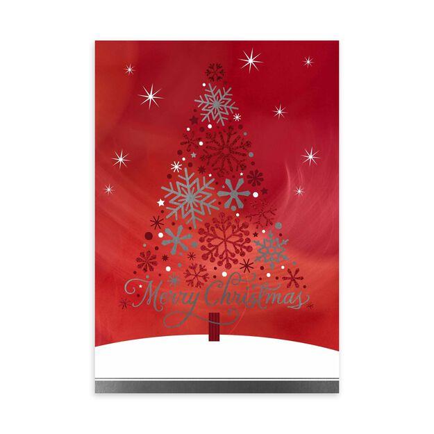 Snowflake Tree on Red Premium Christmas Card