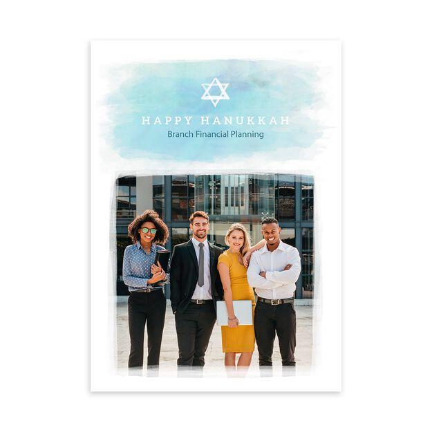 Watercolor Star of David Hanukkah Photo Card