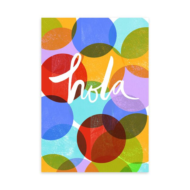 Colorful Hola Spanish Welcome Card