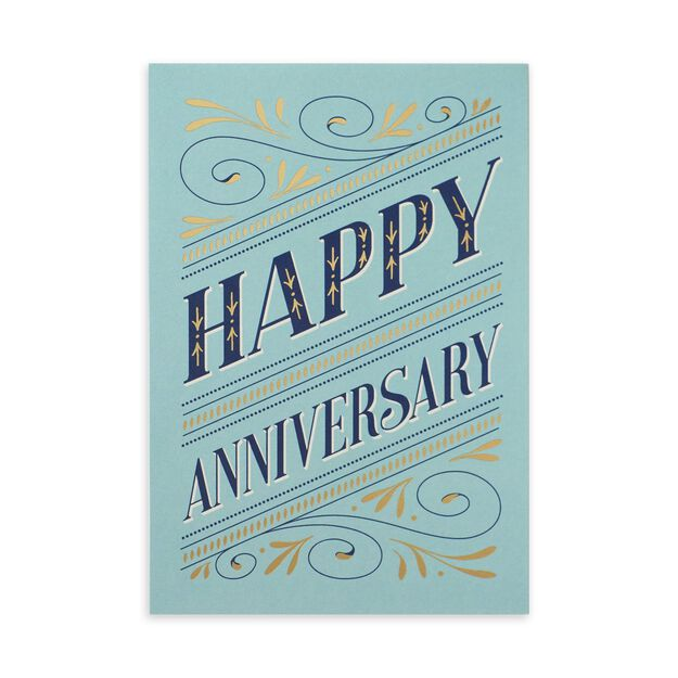 Elegant Blue & Gold Anniversary Card