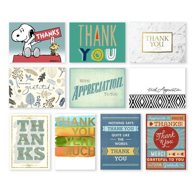 Classic Appreciation Assorted Thank You Cards 50 Pack